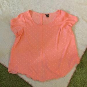 Torrid pink polka dot button back blouse
